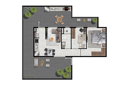 Dois dormitórios com varanda gourmet