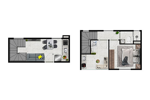 Duplex 1 dormitório