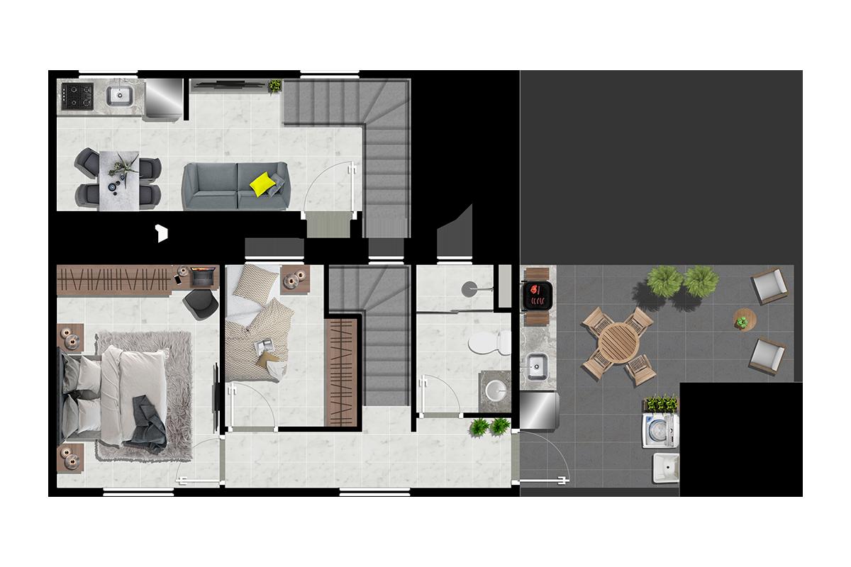 Duplex 2 dorms com varanda gourmet